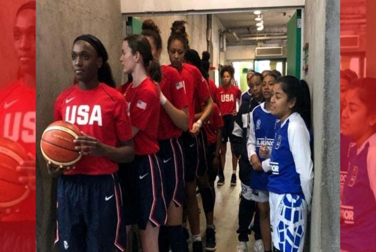 (تصویر) تصویری عجیب از رقابت بسکتبال دختران آمریکا و السالوادور